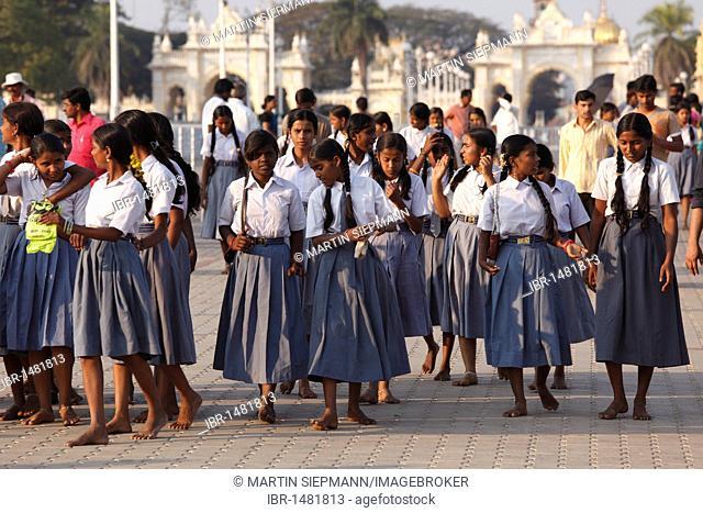 Schoolgirls in school uniforms at the Maharaja's Palace, Mysore Palace, Amba Vilas, Karnataka, South India, India, South Asia, Asia