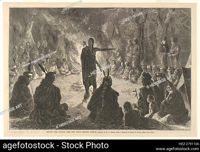 Around the Council Fire, The Young Brave's Speech (Harper's Weekly, May 10, 1873), .., May 10, 1873. Creator: Edwin Austin Abbey