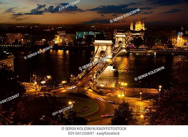 Szechenyi bridge and cityscape of Budapest at night, Hungary