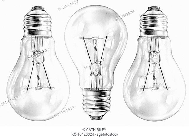 Close up pencil drawing of three filament light bulbs
