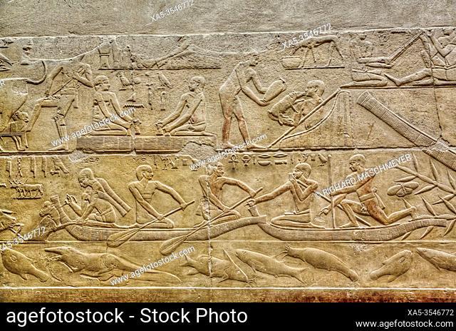 Reliefs, Mastaba of Kagemni, Necropolis of Saqqara, UNESCO World Heritage Site, Saqqara, Egypt