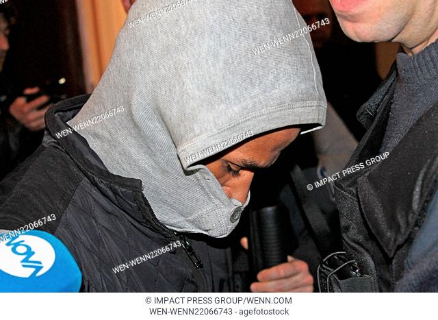 The French citizen of Haitian origin Fritz-Joly Joachin, 29, guarded by police officers attends court in the town of Haskovo
