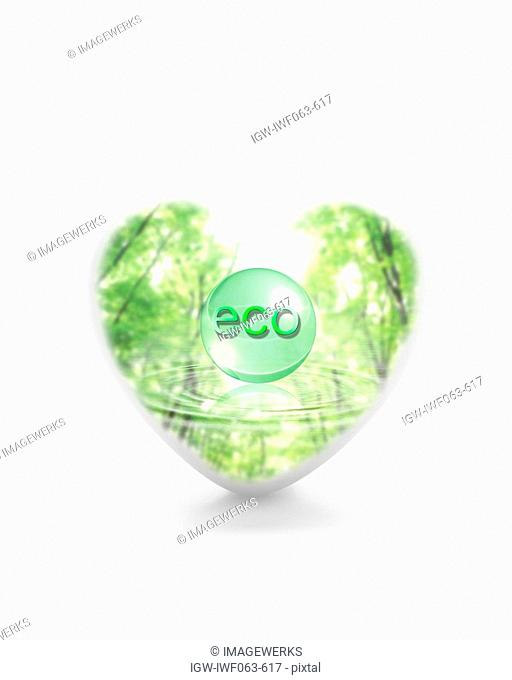 Trees and rippled water in heart shape with text eco Digital Composite