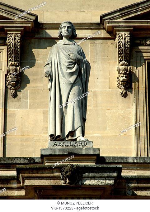 FRANCE, PARIS, 01.05.2007, Statue of medieval scholastic philosopher Peter ABELARD at the facade of The Louvre Museum - Palais Royal. Paris. France