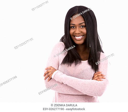 young black woman wearing light swether on white background