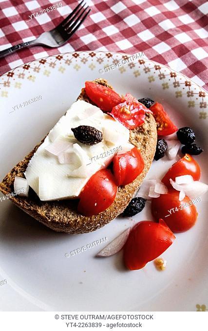 Greek Cuisine Traditional Cretan Dakos Barley Rusk