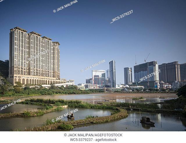 cotai strip casino resorts skyline view from taipa in macau china