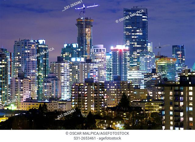 night view of downtown Vancouver Canada