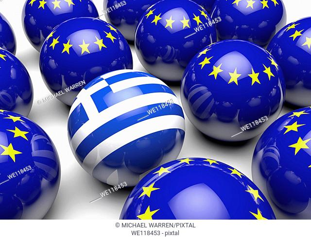 Close up of many balls with the European flag and one ball with the flag of Greece