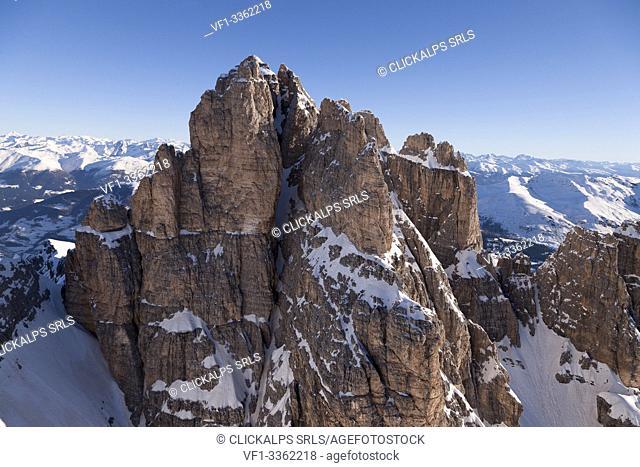 Tre Scarperi Peak. Natural park of Sexten Dolomites. Bolzano province, Trentino Alto Adige region. Italy, Europe