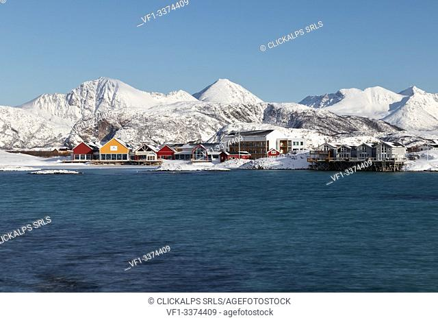 panoramic view of the Sommaroy town in cold winter morning, Sommaroy, Brensholmvegen, Troms county, Northen Norway, Europe
