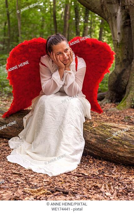 Angel lost in the forest. Waldau, Bonn, Germany