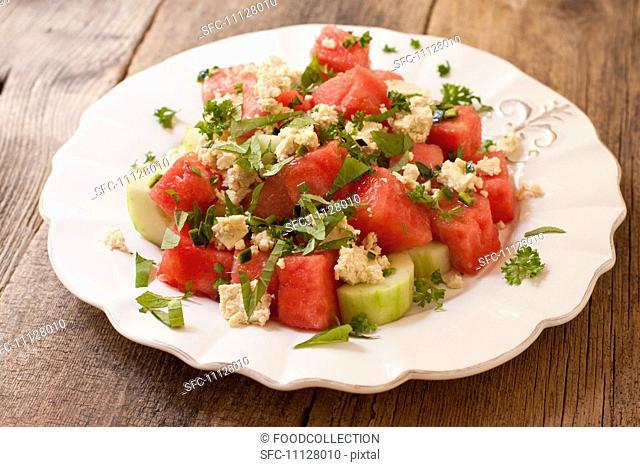 Vegan Salad of Watermelon, Cucumber and Tofu Feta