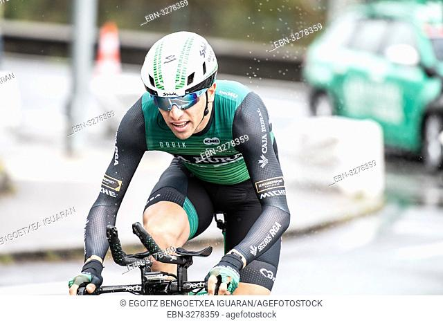 Jonathan Lastra Martinez at Zumarraga, at the first stage of Itzulia, Basque Country Tour. Cycling Time Trial race