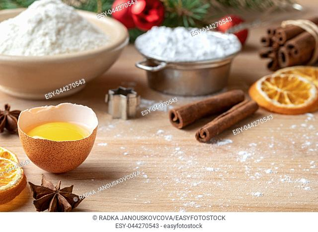 Ingredients for Christmas baking with copy space