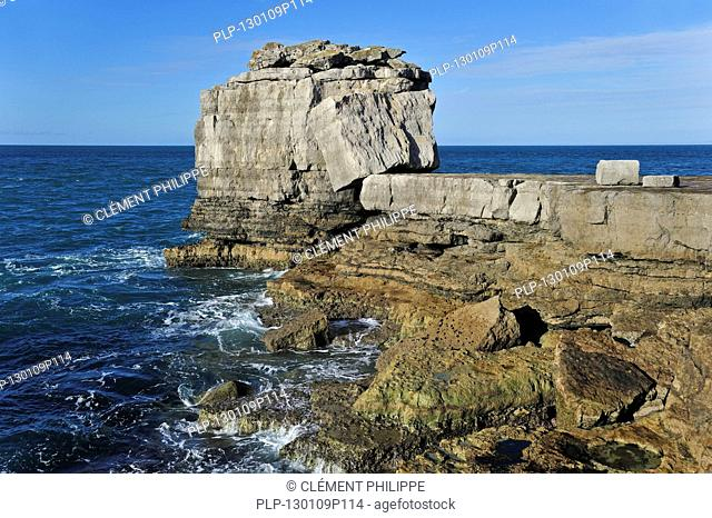 Pulpit Rock, artificial stack of rock on seashore at Portland Bill on the Isle of Portland along the Jurassic Coast, Dorset, southern England, UK