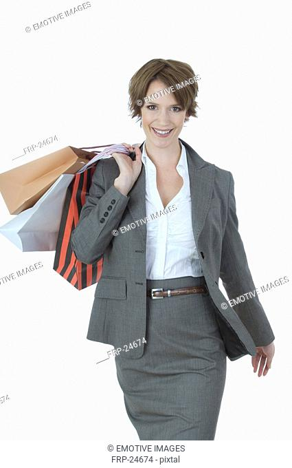 Young woman shopping in business dress