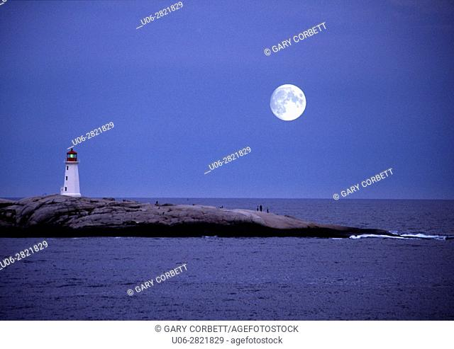 large moon over peggy's cove lighthouse in nova scotia