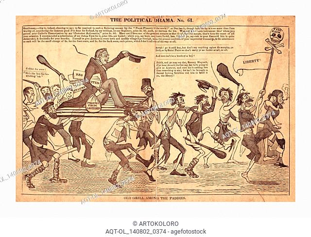 The political drama. No. 61. Old grill among the paddies, en sanguine engraving 1832?, William Cobbett riding on a large gridiron borne by a ragged troop of...