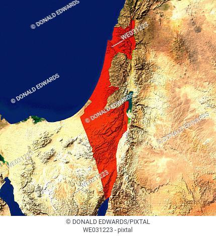 Highlighted satellite image of Israel