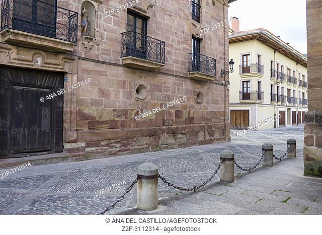 Santa Maria la Mayor church in Ezcaray village in La Rioja Spain
