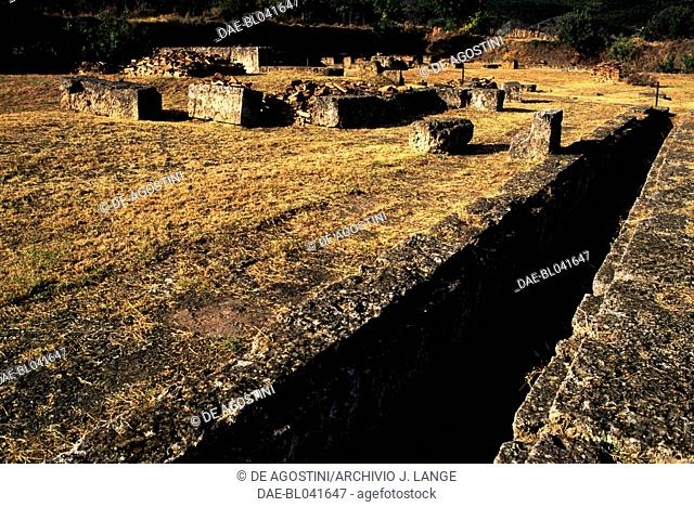 Ruins of the archaeological site of Aigai, Vergina (UNESCO World Heritage List, 1996), Macedonia, Greece. Macedonian civilisation, 4th century BC