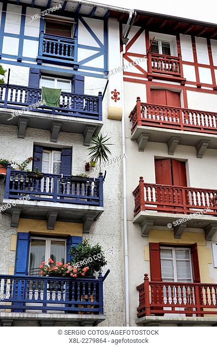 Balconies of houses in Hondarribia, Guipuzcoa