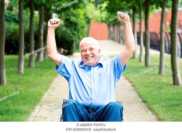 Happy Senior Man On Wheelchair With Arm Raised