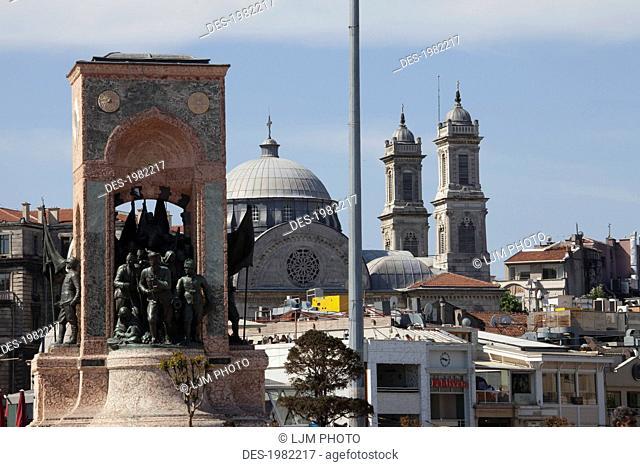 independence monument commemorating kemal ataturk in taksim square, istanbul turkey