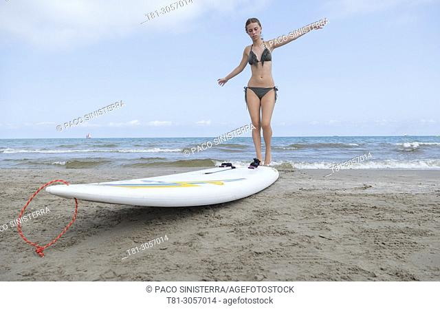 girl with surfboard, Benicasim, Spain