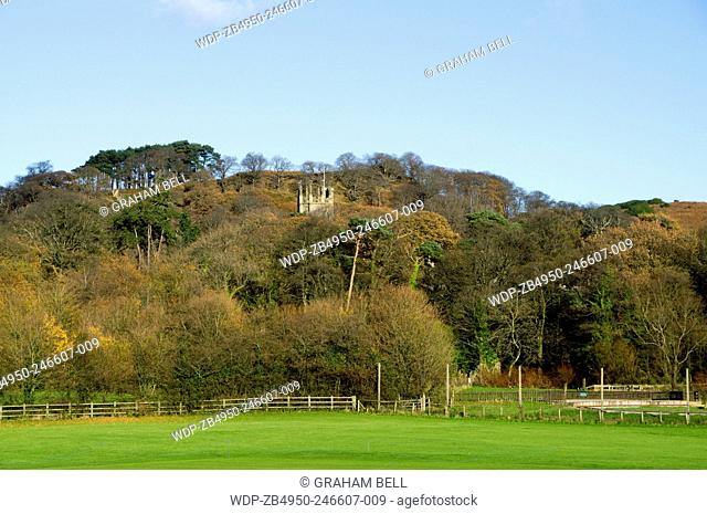 Margam Countrypark with the Turrets of Margam Manor visible throuth the trees, Port Talbot, Wales