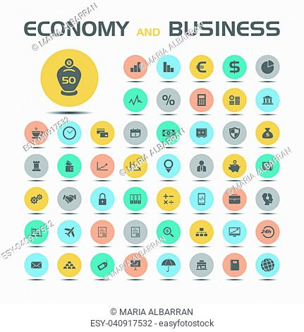 50 Economy and business icons on colored buttons with shade