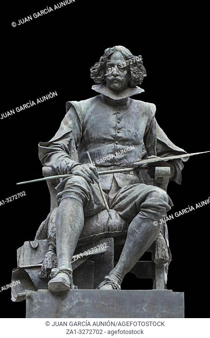 Madrid, Spain - Sept 12th, 2018: Bronze statue of Diego Velazquez painter, by Aniceto Marinas, Madrid, Spain. Isolated