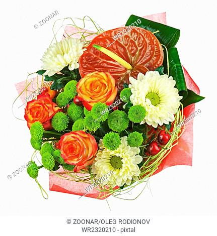 Colorful flower bouquet isolated on white background