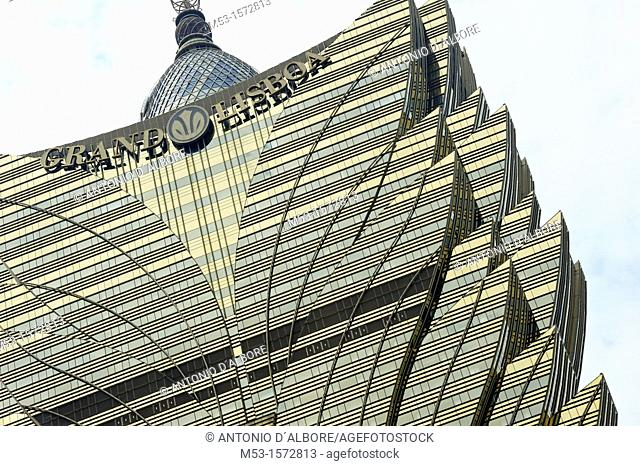 The fancy building of Grand Lisboa Casino and Hotel, a popular gambling venue in town  Macau  China
