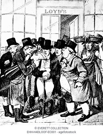 Underwriters in front of Lloyds of London, 19th century