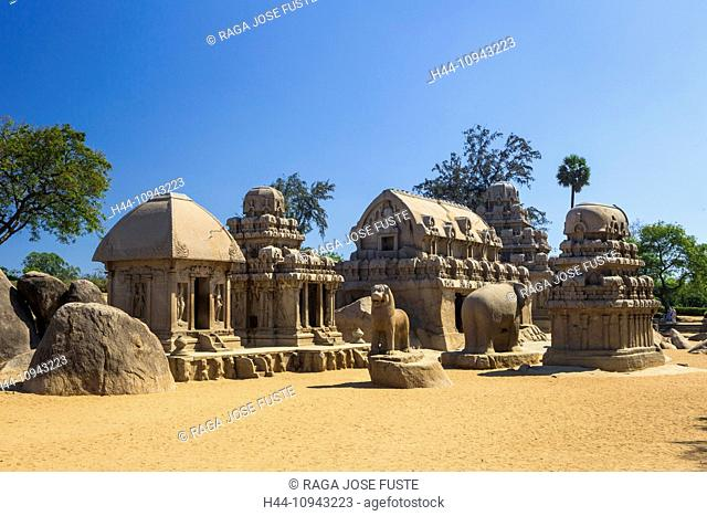 India, South India, Asia, Tamil Nadu, Mamallapuram, Mahabalipuram, Rathas, Five Rathas, rock-cut, architecture, famous, rocks, sculptures, stone cut, temples