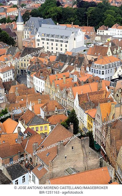 View from the Belfry, Bruges, West Flanders, Belgium, Europe