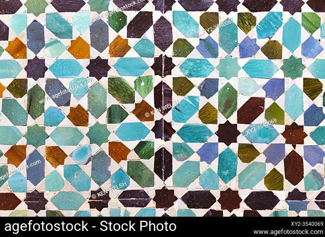 Glazed ceramic patterned tiles in the Chapel of San Bartolomé, Cordoba, Cordoba Province, Andalusia, southern Spain. The chapel is considered a jewel of Mudejar...