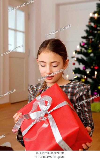 Girl in front of christmas tree looking down holding gift