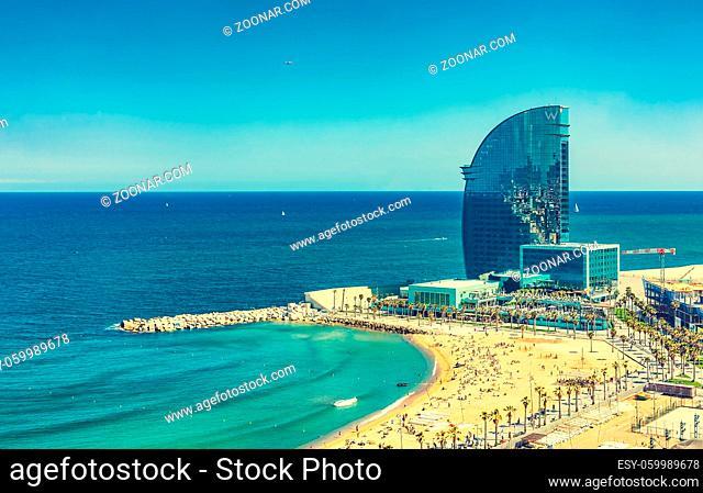 Barcelona, Spain -May 15, 2011: View of Barceloneta Beach and W Hotel in Barcelona, Spain