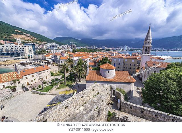 Aerial view from Citadel on the Old Town of Budva on the Adriatic Sea coast in Montenegro. Holy Trinity Church (on foreground) and Saint John church (right)