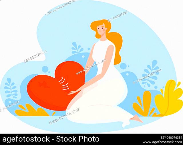 Caricature depression, unhappy woman sitting near heart, broken life, isolated on white, design, flat style vector illustration