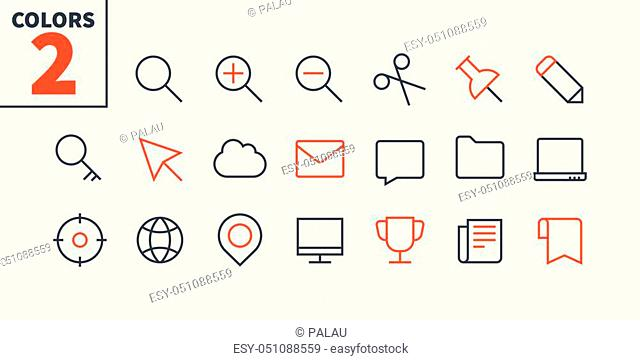 General UI Pixel Perfect Well-crafted Vector Thin Line Icons 48x48 Ready for 24x24 Grid for Web Graphics and Apps with Editable Stroke