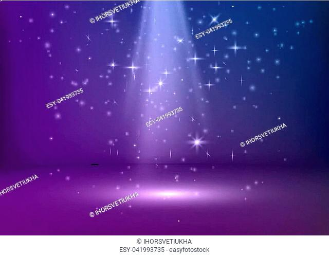 The scene is illuminated with blue and purple light. Violet stage background. Vector illustration