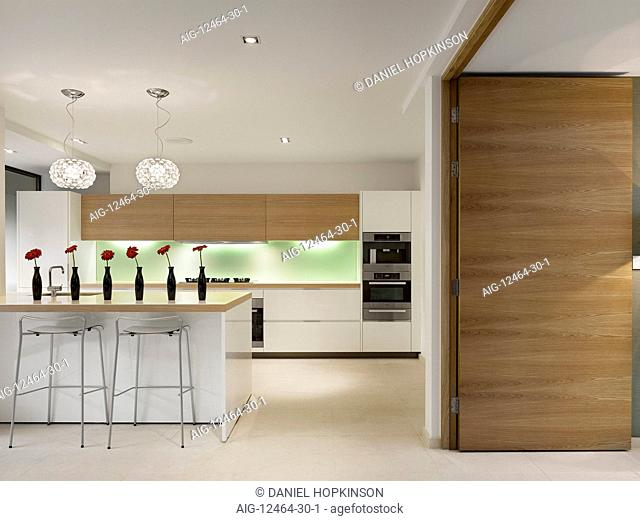 Open plan kitchen with breakfast bar, private House, Worsley