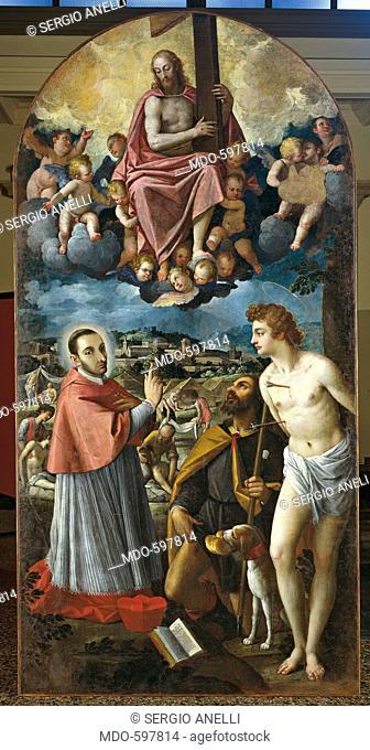 Altarpiece of the Plague. The Ascension of Christ with Saint Charles Borromeo, Saint Roch and Saint Sebastian (Paletta della peste