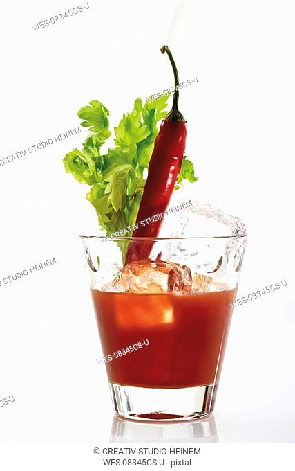 Bloody Mary, garnished with chili pod and celery