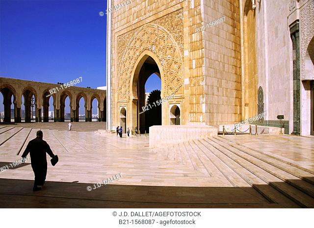 Morocco- The Hassan II Mosque Arabic:    is a religious buildings in Casablanca, Morocco, the largest mosque in the country and the fifth largest mosque in the...