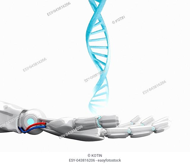 Robotic hand touches dna chain over blue background. Futuristic concept. 3d rendering